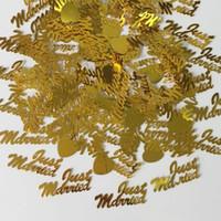 ingrosso decorazioni da tavolo da party-150g Oro Just Married Love Heart Confetti Festa di nozze Foil Table Scatter Fidanzamento Sposato Anniversario Spruzzare Decorazioni