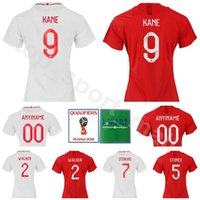 Wholesale lady shirts - Lady 9 Harry Kane Women Jersey 2018 World Cup Woman 10 STERLING 14 WELBECK Football Shirt Kits 5 STONES 2 WALKER WHite Red