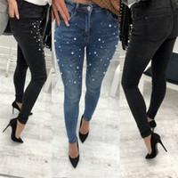6c3f8878bbb7c Mode Sexy Femmes Denim Skinny Pantalon Taille Haute Stretch Perles Jeans  Slim Crayon Pantalon D1892501