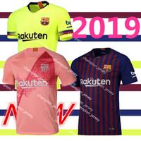 jerseys de fútbol 14 al por mayor-18/19 New Thailand Jerseys para hombre Jersey de fútbol Barcelona MESSI A.INIESTA Suárez DEMBELE 14 COUTINHO 2018 2019 camiseta de fútbol