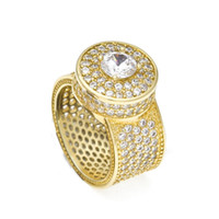 ingrosso titanio hip hop gioielli bling-HIP Hop Micro Pave Strass Iced Out Bling Big Ring Anello in oro titanio riempito in oro per gioielli da uomo