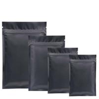 plásticos para la alimentación al por mayor-Bolsas de plástico mylar negras Bolsas de aluminio con cremallera Bolsa para almacenamiento a largo plazo de alimentos y artículos de colección de dos lados de color