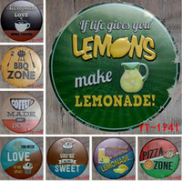 Wholesale bbq signs - BBQ ZONE Round Painting Retro Gift Metal Sign Plaque Wall decor