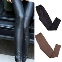 wholesale leather leggins Australia - Wholesale- Sexy Fashion Pu Leather Stitching Skinny Leggings Autumn Winter Leggings For Women Lady leggins Pants