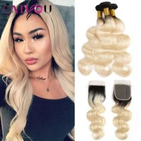Wholesale Onlyou Hair Brazilian Virgin Straight B Ombre Human Hair Bundles with Lace Closure Peruvian Body Wave Blonde Bundles with Frontal