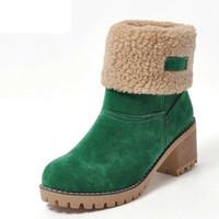 siyah topuk topuk ayakkabıları toptan satış-Promosyon Kadınlar Için Kadın Kış Ayakkabı Kadın Kürk Sıcak Kar Botları Moda Kare Yüksek Topuklar Ayak Bileği Çizmeler Siyah Yeşil Çizmeler
