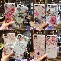 3d белый цветной телефон оптовых-Мода 3D Белый цветок краска телефон case СПС iPhone 8 X старинные мягкие TPU задняя крышка Cases Коке для iPhone7 8 6 6 S плюс 5s