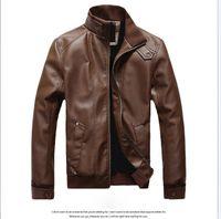 erkekler için pu deri ceketler toptan satış-Erkek Yeni Gelmesi Marka Giyim Motosiklet Deri Ceket Erkekler, Jaqueta De Couro Masculina Erkek Deri Rüzgarlık Ceketler Coats