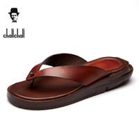 Wholesale comfort flip flops - chalichali Brand Genuine Leather Summer Men Slippers Beach Sandals Comfort Men Casual Shoes Fashion Men Flip Flops Drop Shipping