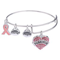 Wholesale breast cancer charms - Pink Ribbon Breast Cancer Survivor Charm Stainless Steel Expandable Wire Bangle Bracelet Courage Hope Gift for Women