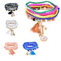 charmes de poire achat en gros de-Bohème Style Star Charme Perles Bracelets Pour Femmes Boho Gland Multicouche Simulé Poire Bracelet Bijoux Partie Cadeau drop ship 320121