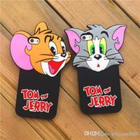 animar manzana al por mayor-Cajas de Tom y Jerry Phone Cuteness Animated cartoon iphone6 6s plus Fundas para teléfonos Funda protectora para Iphone Frosted con resistencia a la caída
