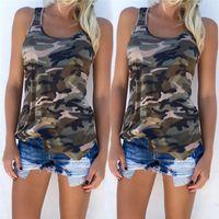 kadın kolsuz tişörtler toptan satış-Bayan Moda T Shirt 2018 Yeni Kamuflaj Kolsuz Yelek Tees Yaz Casual Mahsul Tops Tişörtleri Giysileri