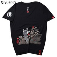 Wholesale japanese style t shirt men - QiyuanLS T shirt Men Printed T-shirts Goldfish Japanese Style Tops Tee Shirt Fashion Casual Short Sleeved Streetwear Male Shirts