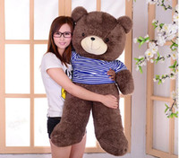 Wholesale Dresses Girlfriends - Large Lovely Teddy bear girlfriend birthday gift wear dress brown bear large plush doll toy gift