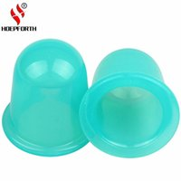 Wholesale vacuum massage face - Massage Silicone Cups Family Body Helper Anti Cellulite Vacuum Massage Cupping Neck Face Back Cupping Cups 55MM 1PC