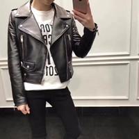 gerçek deri motosiklet ceketleri toptan satış-Sokak moda kadın koyun derisi deri ceketler yaka boyun 100% hakiki deri blazer motosiklet deri ceketler