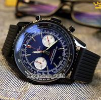 relógios de esporte venda por atacado-New Navitimer 01 Black Dial MB0128AN | BE51 Miyota Quartz Chronograph Men Watch Preto PVD Aço Case Rubber Strap Sport Relógios