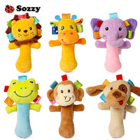 Wholesale wholesale stuffed animals for babies - Sozzy Lovely Plush Stuffed Animal Baby Rattle Squeaky Sticks Toys Hand Bells for Children Newborn Gift Comfort 6 Styles Elephant