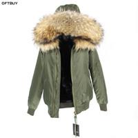 büyük kürk ceket ceketi toptan satış-Su geçirmez bombacı ceket büyük rakun kürk hood kış ceket kadınlar parka doğal gerçek kürk ceket kadınlar için sıcak kalın astar 2018