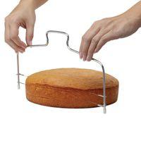 pasta dilimleyici tesviye toptan satış-Ayarlanabilir Paslanmaz Çelik Tel Kek Dilimleme Leveler Pizza Hamur Kesici Giyotin Ktchen Aksesuarları Pişirme Aracı