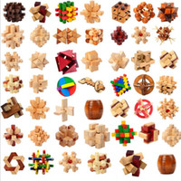 Wholesale intellectual toys - Kong Ming Luban Lock Kids Children 3D Handmade Wooden Toy Adult Intellectual Brain Tease Game Puzzle 50 designs mix