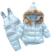детские теплые костюмы оптовых-2018 New Boys Skid  Winter Children Clothing Set For Girls Jacket Coat Overalls Warm Down Snow Suit Baby Kids Clothes