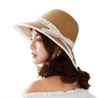 3302dfcf4d0 Women Straw Beach Sun Hat With Wide Brim Lady Dome Bucket Sunbonnet With  Fashion Bow Size 56-58CM