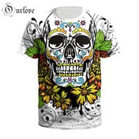 Wholesale long sleeve skeleton shirt - New Fashion Couples Men Women Unisex Flower skeleton Funny 3D Print No Cap Casual T-Shirts Tee Top S-5XL B121-077