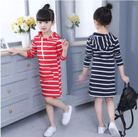 Wholesale newest clothing styles online - Girls Dress Newest Spring Autumn Hooded Long Sleeve Kids Dress Toddler Children Casual Clothing Striped Tutu Baby Fashion Dresses Girls B11