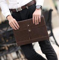 evrak çantası satışı toptan satış-Kore moda erkek fabrika satış marka deri çanta el çantası eğilim zarf çanta retro casual erkek iş rahat dosya evrak