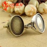 mücevher ayarları yüzük toptan satış-A2736 21 * 20 MM Fit 13 * 18 MM Antik Bronz kaplama Türük çinko alaşımı takı boş halka ayarları bakım sonunda