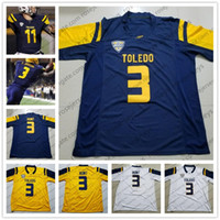 Wholesale footballs johnson - Custom NCAA Toledo Rockets #3 Kareem Hunt Navy Blue Gold Yellow White College Football Stitched Diontae Johnson Any Numbe Name Jerseys S-4XL