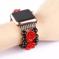 ingrosso vigilanza della perla del braccialetto nero-cinturino elastico per donna con perle nere di cristallo rosso fiore per Apple Watch serie 4 3 2 1 all generation