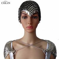 alın için mücevherat toptan satış-Toptan Yeni Kadın Punk Chainmail Katmanlı Metal Kafa Zinciri Headdress Takı Alın Kafa Omuz Kolye Vücut Takı CRS202