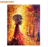 фотографии красивые женщины оптовых-CHENISTORY красивые женщины Осенний пейзаж DIY живопись by Numbers комплекты раскраски краска by Numbers современный Wall Art картина подарок