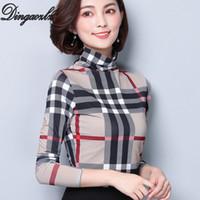 t-shirt elegante frau großhandel-Dingaozlz koreanische neue plus Größe 2018 Dameoberteile elegante weibliche lange Hülse beiläufiges Hemd Art und Weise druckte Maschenfrauen T-Shirt