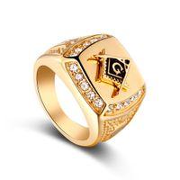 símbolos maçônicos venda por atacado-Símbolos de sinete de cor de ouro vintage com cristal maçônico cruz homens anel maçom anéis masculinos