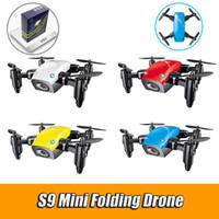 ingrosso micro macchina fotografica fpv-S9HW Mini Pocket Drone con fotocamera HD S9 No telecamera pieghevole RC Quadcopter Altitude Hold Helicopter WiFi FPV Micro Drone Aircraft VS XS809hw