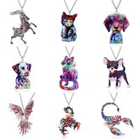 Wholesale Eagles Jewelry - Thermal Transfer Animal Pendant Necklace Colorful Cute Dog Cat Eagle Pendant Fashion Necklace Charms Women Jewelry Gifts Drop Shipping
