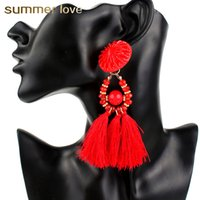 Wholesale ethnic charms beads - New 5 Colors Ethnic Tassel Chandelier Earring Women Fashion Bohemia Jewelry Colorful Resin Bead Charm Long Tassels Earings 2018 Wholesale