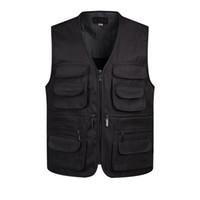 militärischer modemantel für männer großhandel-V-Ausschnitt Man Vests Sleeveless Entladen Fashion Weste mit vielen männlichen Manteltaschen Military Jacket Mens Tactical Vest Sweatshirts
