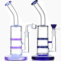 Wholesale Double Combs - Double Honeycomb Bong Glass Bongs Water Pipe 5mm Thick Heady Dab Rigs Two Honey Comb Percolator Bubbler Pipes Oil Rig With Quartz Banger