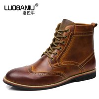 Wholesale Mens Dress Winter Boots - Plush Size 11 12 13 Mens Two Tone Genuine Leather Brogue Winter Super Warm Ankle Boots Formal Dress Oxford Snow Boots