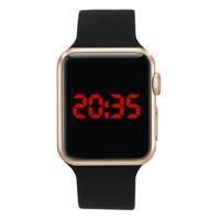 siyah kare saatler toptan satış-Relojes Dijital Bilek İzle Spor Saat saatleri Yüksek Kalite Kare Ayna Yüz Silikon Band Dijital İzle Siyah LED Saatler