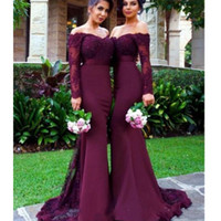 Wholesale cap sleeve wedding dres resale online - Burgundy Long Sleeves Mermaid Bridesmaid Dresses Beads Lace Appliques Off the Shoulder Maid of Honor Gowns Glamorous Wedding Guest Dres