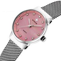стальной ленточный конвейер оптовых-Подлинная женская стальная сетка пояса кварцевые часы светящиеся водонепроницаемые часы женские