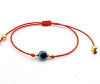 amuletos de cuerda roja al por mayor-100pcs Red String Lucky Pulsera Blue Evil Eye encantos Pulsera ajustable regalo