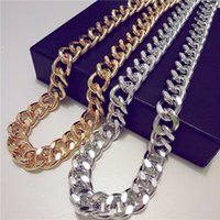Wholesale thick gold chain wholesale - Miami Cuban Chains For Men Hip Hop Jewelry Gold Color Thick Aluminum Chain Long Big Chunky Necklace Gift