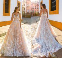 Wholesale royal castle - Crystal Design Bridal Sleeveless Straps Deep Plunging Full Embellishment Blush Color A Line Wedding Dresses Sheer Back Royal Train HY229